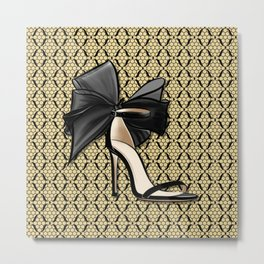 High Heel Shoe with Gold and Black Fishnet Lace Decor Pattern Metal Print