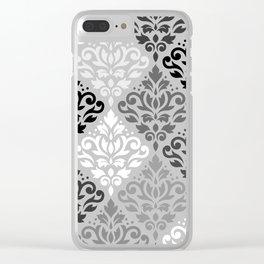 Scroll Damask Ptn Art BW & Grays Clear iPhone Case