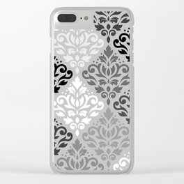 Scroll Damask Ptn Art BW & Grays Clear iPhone Case