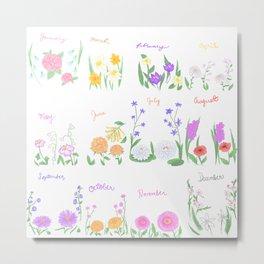 Birthday Month Flowers Metal Print