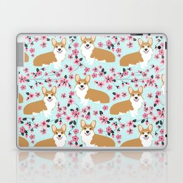 Corgi cherry blossom florals dog must have cute welsh corgis gifts pure breed Laptop & iPad Skin