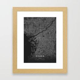 Osaka, Japan - Dark Map Framed Art Print