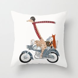 little biker buddies Throw Pillow
