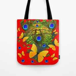GREEN PEACOCK FEATHERS YELLOW BUTTERFLIES ON  RED ART Tote Bag