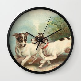 Classic, preppy, vintage jack russell fox terrier dog puppy antique illustration art print Wall Clock