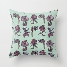 Botanical Florals | Vintage Raspberry Throw Pillow