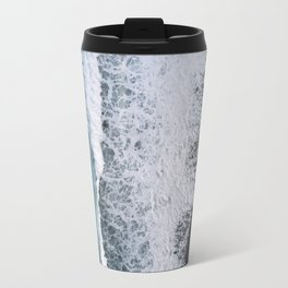 Aerial of a Black Sand Beach with Waves - Oceanscape Travel Mug