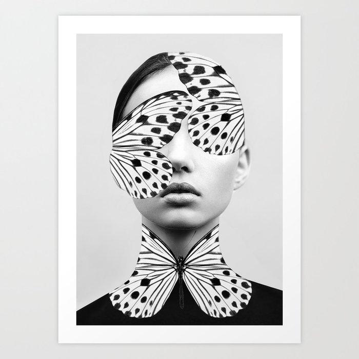 Woman Butterfly Kunstdrucke
