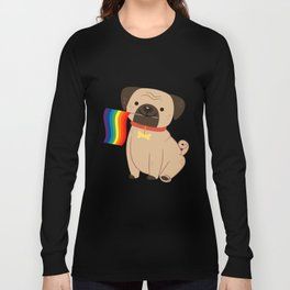 LGBT Gay Pride Flag Pug - Pride Gay Long Sleeve T-shirt