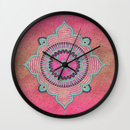 India Pink Mandala Pattern Wall Clock