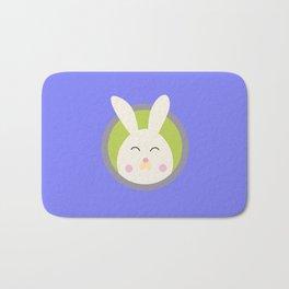 Cute rabbit head with blue circle Bath Mat