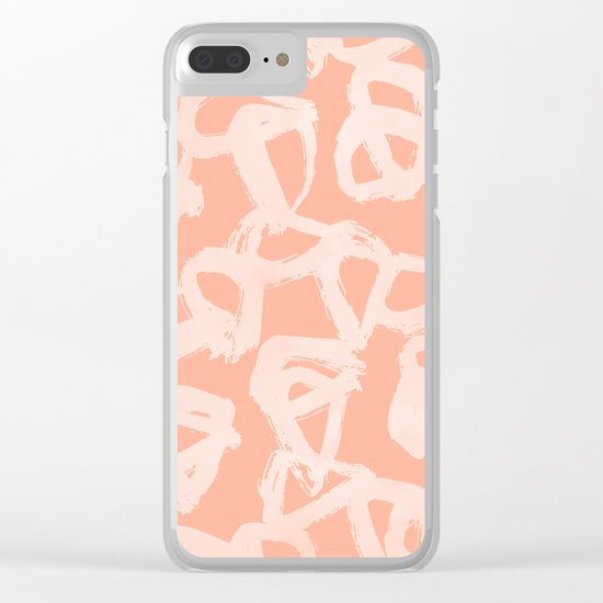 Sweet Life Triangle Dots Peach Coral Pink Clear iPhone Case
