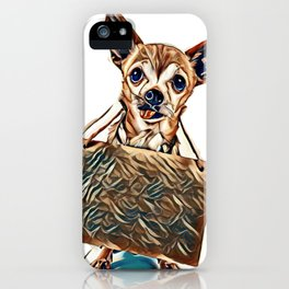 a cute chihuahua holding a homeless or will work sign        - Image iPhone Case