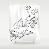 swallow Shower Curtains featuring Colouring Swallow by Jelly Roger