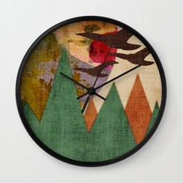 Geometric Mountains, Birds and Jupiter Wall Clock