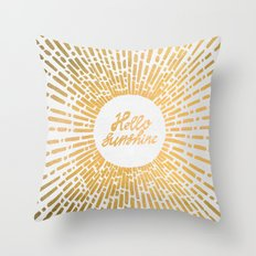 Hello Sunshine Gold Throw Pillow