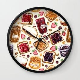 Peanut Butter and Jelly Watercolor Wall Clock