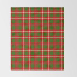 Tartan Style Green and Red Plaid Throw Blanket
