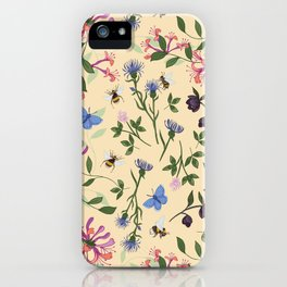Honeysuckle, Bees and Hellebore Pattern iPhone Case