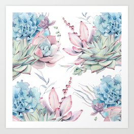Pretty Pastel Succulents Garden 1 Art Print