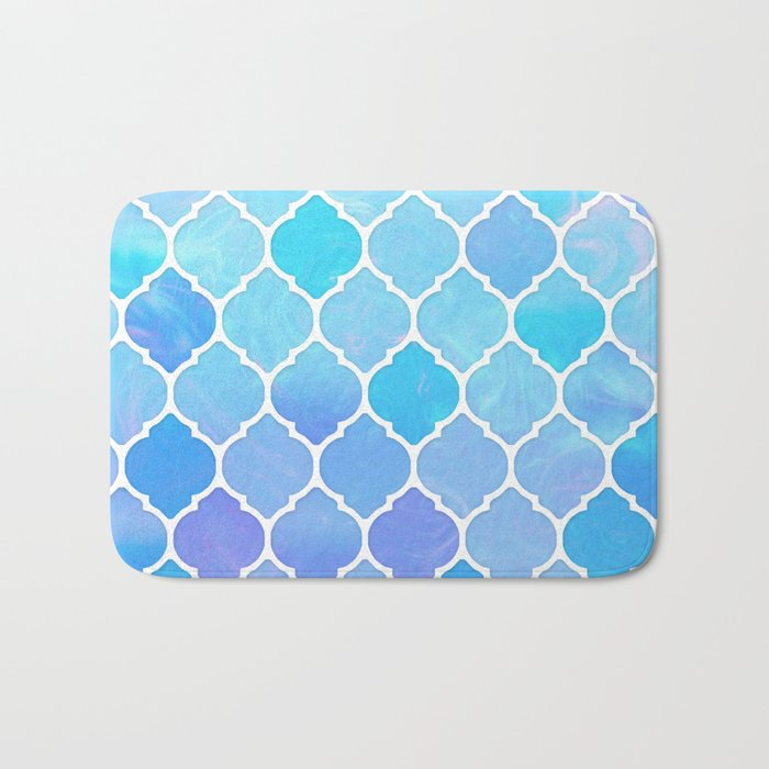 Blue and purple glass Moroccan print Bath Mat