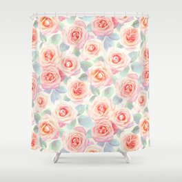 Faded Vintage Painted Roses Shower Curtain