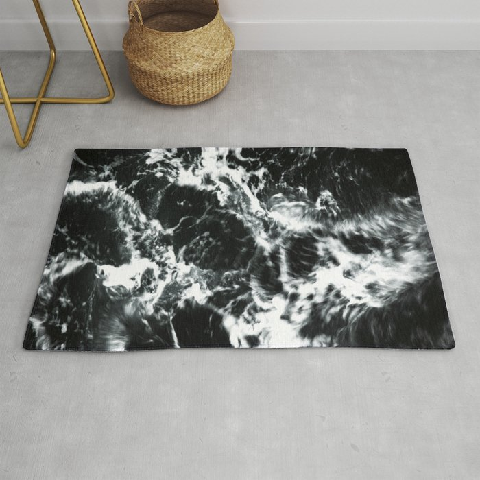 Waves Black And White Abstract Rug By Cascadia