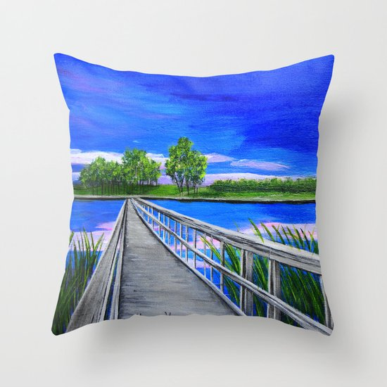 Walking bridge on the lake  Throw Pillow