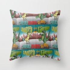 Unicorn VS Gogojira! Throw Pillow