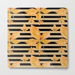 Orange Leaves on Black and Gold Stripes Metal Print
