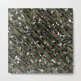 Green and Brown Multicamo Stripes Metal Print