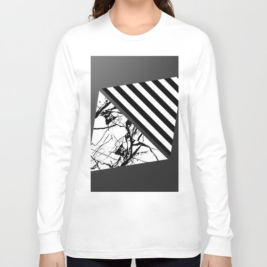 Stripes N Marble 3 - Abstract Black and white stripes and marble textured triangles on metallic Long Sleeve T-shirt