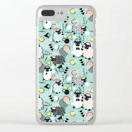 Mééé Memphis sheep // mint background Clear iPhone Case
