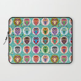 funny colored owls on a turquoise background Laptop Sleeve
