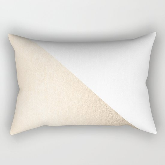 Simply Shadow in White Gold Sands Rectangular Pillow