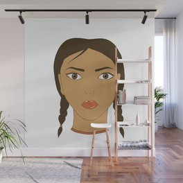 A girl with two braids. Art. Wall Mural