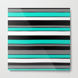 Teal Aqua White Grey Black Stripes Metal Print