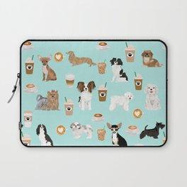 Coffee Dogs cute miniature dog breeds chihuahua bichon terrier Shih tzu pomeranian latte coffees Laptop Sleeve