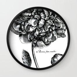 Black and White Peony Wall Clock