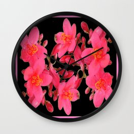 PINK FLOWER BLOSSOMS  BLACK SPRING ART Wall Clock