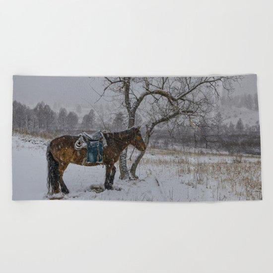 Winter Horse III Beach Towel