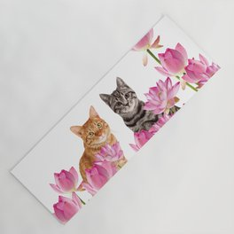 Red and Tiger cat in Lotos Flower Field Yoga Mat
