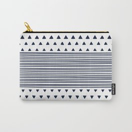 Triangle Stripe Geometric Modern Navy and White Carry-All Pouch