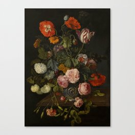 "Cornelis Kick ""A still life with parrot tulips, poppies, roses, snow balls, and other flowers"" Canvas Print"
