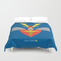 man of steel Duvet Covers featuring Invincible Steel Man Daitarn 3 by IlPizza