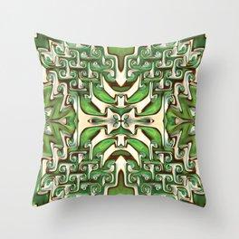 Green and Cream Spiral Bends Throw Pillow