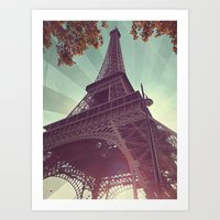 eiffel tower Art Prints featuring Eiffel Tower by Rhianna Power