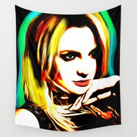 britney spears Wall Tapestries featuring Britney Spears - Superstar - Pop Art by William Cuccio aka WCSmack