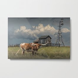 Longhorn Steer in a Prairie pasture by 1880 Town with Windmill and Old Gray Wooden Barn Metal Print