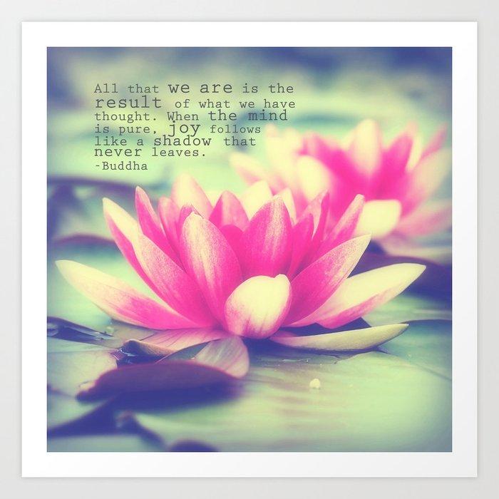 Lotus buddha quote art print by whimsycanvas society6 lotus buddha quote art print mightylinksfo Choice Image